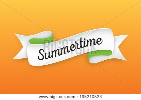 Trendy retro ribbon with text Summertime. Colorful banner with ribbon for design, game, web. Vector Illustration