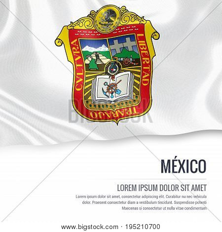 Mexican state Mexico flag waving on an isolated white background. State name and the text area for your message. 3D illustration.