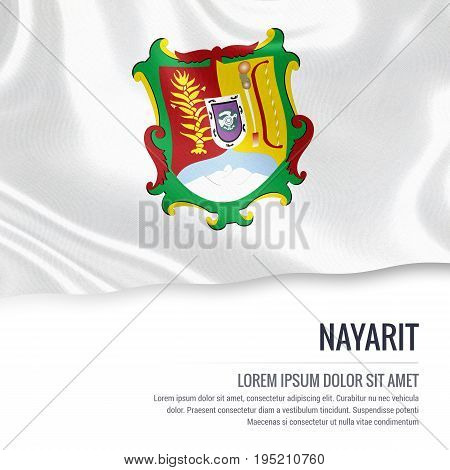 Mexican state Nayarit flag waving on an isolated white background. State name and the text area for your message. 3D illustration.