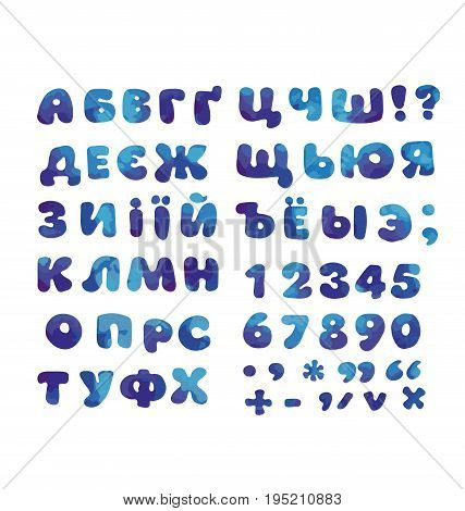 Cyrillic alphabet in water blue color. kid font element set. child style ABC vector illustration.