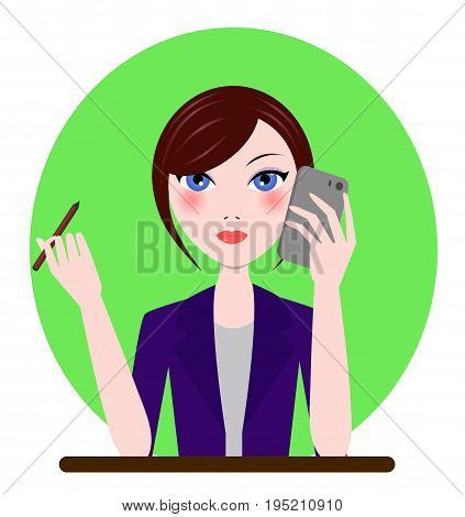 Support manager, admin, secretary girl icon. Vector cartoon flat illustration