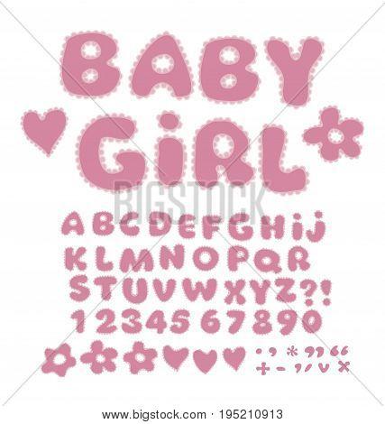 girl alphabet with laze. kid font element set. child style ABC vector illustration.