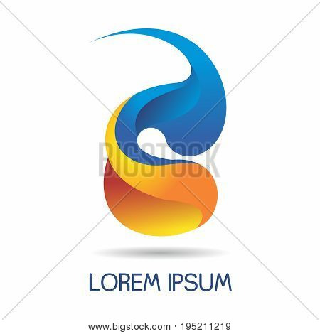 Vector Abstract Creative Logo Design of Alphabet S & C in blue and yellow orange color