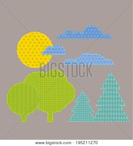 patchwork style kid landscape vector illustration. sun, cloud and forest naive cartoon