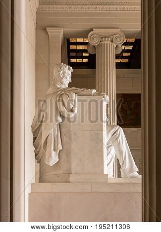 Statue of President Lincoln in Lincoln Memorial in Washington DC - no property release needed