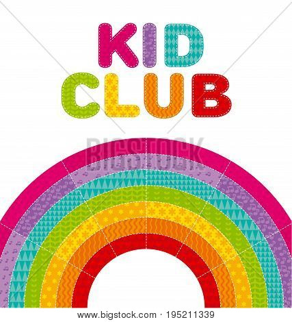 kid  rainbow vector illustration. isolated color arc lettering with colorful  patchwork pattern.