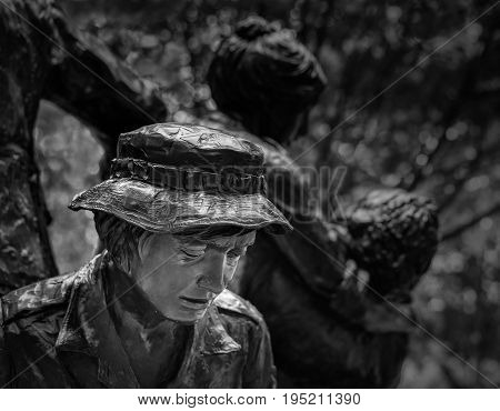WASHINGTON DC - JULY 8: Vietnam Women's Memorial in Washington DC on July 8, 2017. The statue was designed by Glenna Goodacre and dedicated on November 11, 1993.