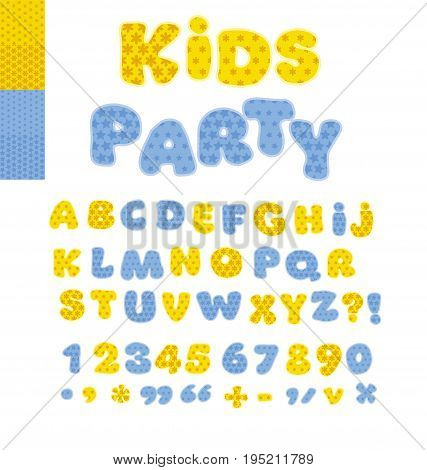 Funny Alphabet for children. Cute cartoon alphabetic letters in blue colors. Bold  soft font abc, rounded type for birthday greeting, baby shower card, educational poster.