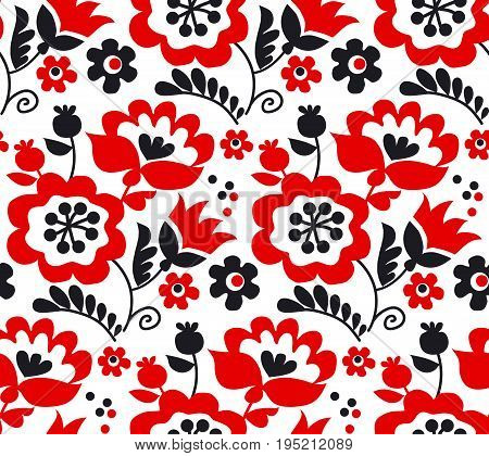 red color traditional european Ukrainian ornament. rustic floral composition. rural folk style flower seamless pattern.