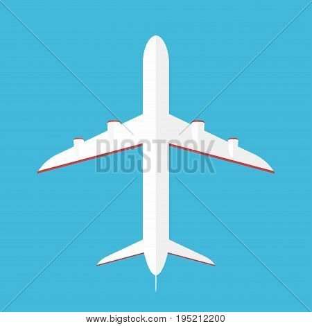 Airplane In The Sky. Commercial Airplane In Bottom View, View From Below