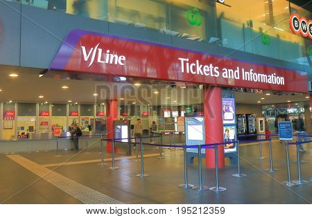 MELBOURNE AUSTRALIA - JULY 3, 2017: Vline ticket office at Southern Cross train station. V/Line is owned by Victorian state Government operating 85 railway stations across Victoria.