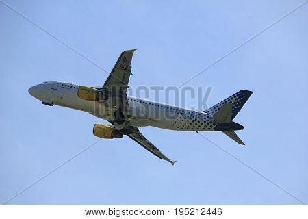 Amsterdam The Netherlands - July 9th 2017: Ec-mbf Vueling Airbus A320-200 Takeoff From Buitenveldert