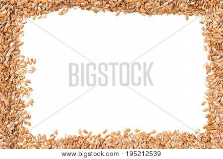 Raw unprocessed linseed or flax seed background frame border