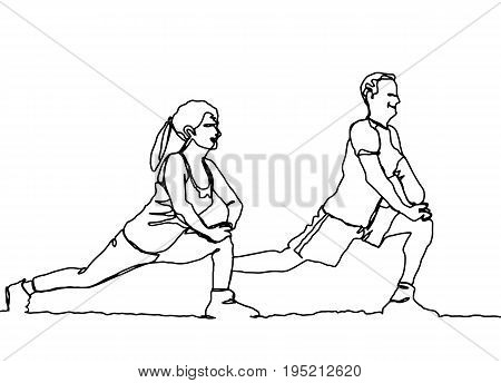 continuous line drawing of happy man and woman stretchingVector hand drawn illustration.