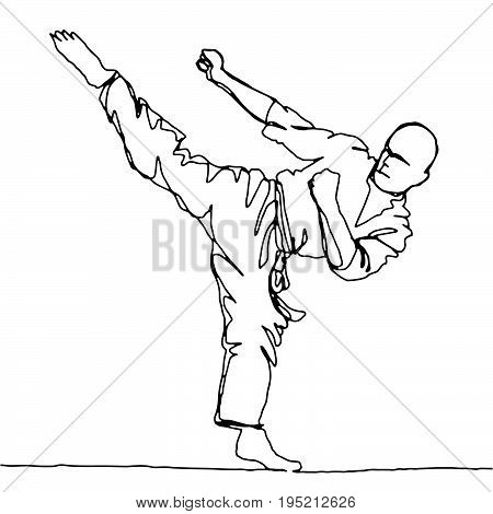 continuous line drawing of karate athleteVector hand drawn illustration.