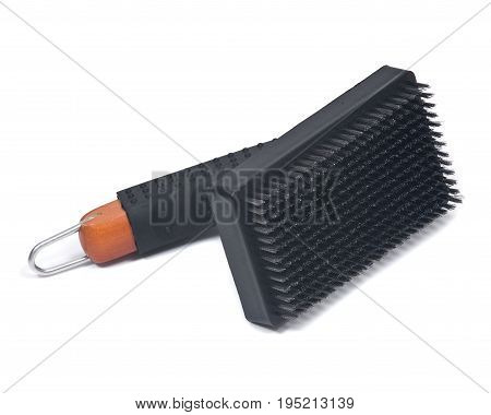 Grill brush with metal bristles isolated on white background