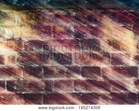 Diagonal streaks on a red brick wall are created by diagonal camera movement