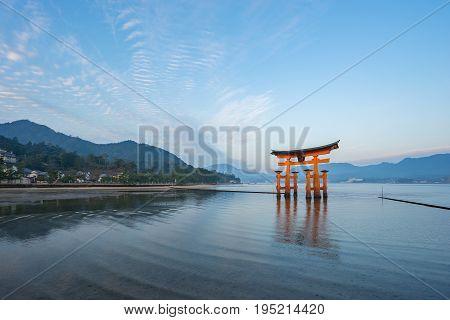 The Torii Gate Landmark Of Japan In Miyajima Island