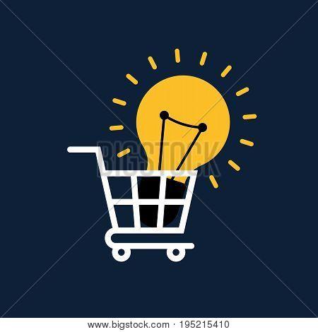 Creative idea concept flat design. Light bulb in shopping cart vector illustration