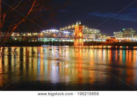 Beautiful Cincinnati bridge at night with lights