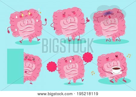cute cartoon intestine on the green background