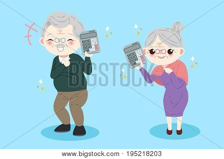 cute cartoon old couple take calculate on the blue background