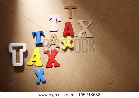 lot of tax on the color background