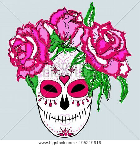 Sugar skull with pink roses. Day of the dead (Dia de los muertos). Isolated on background. Vector illustration