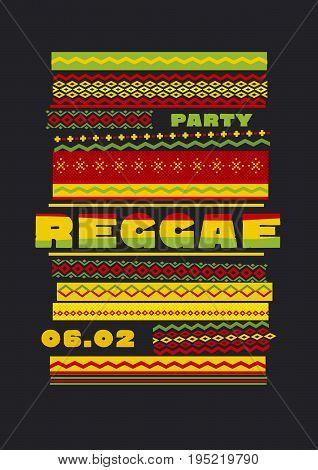 retro traditional decorative pattern. reggae color music background. Jamaica poster vector illustration