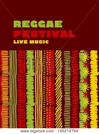 reggae music classic color background. Jamaica poster vector illustration with tribal hand drawn stripe patterns