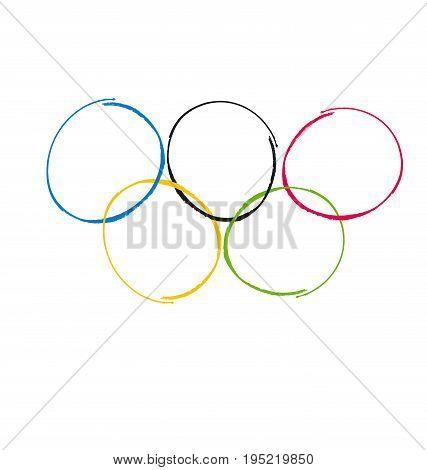 Vector illustration of brush painted sport rings over white background.