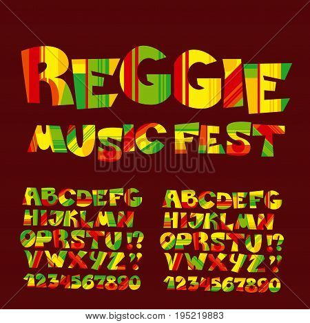 relax reggae music color font. Jamaica style ABC letters with stripes and patch vector illustration