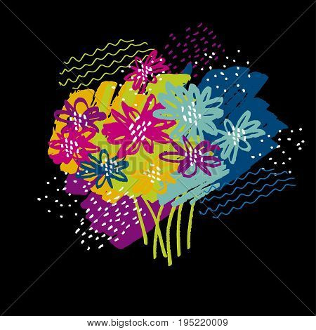 color abstract  tropical bouquet on black background