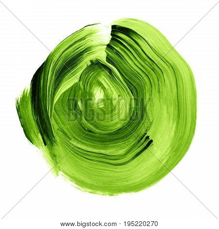 Green Greenery Textured Acrylic Circle. Watercolour Stain On White Background.
