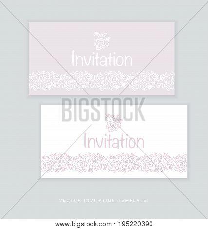 pale color tender rose floral invitation card vector illustration