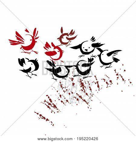concept ink drawn handmade birds vector illustration