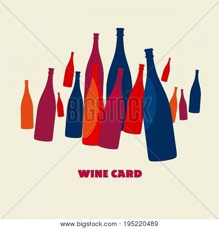 wine bottle poster color set vector illustration