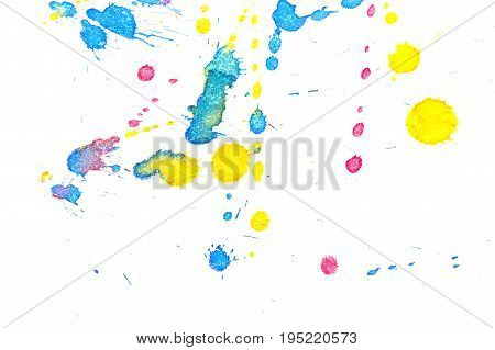 Abstract red yellow and blue ink splash. Ink blots. Elements of design. The water-soluble ink on white paper Leste. Abstract contemporary art.