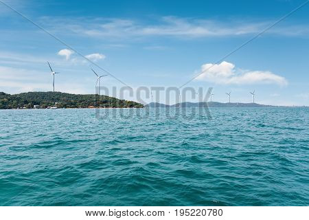 wind farm on seaside beautiful seaview and new energy