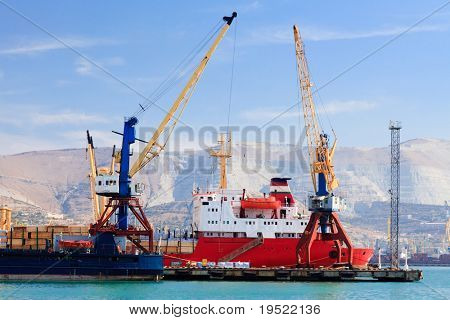 Ship in a port of Novorossiysk, Russia