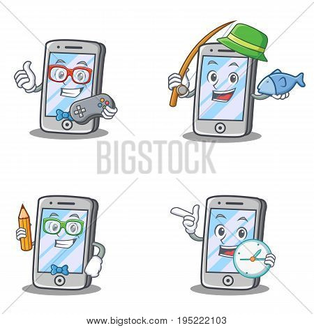 Set of iPhone character with gamer fishing geek and clock vector art