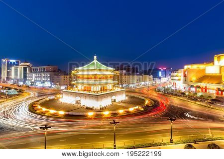 xian bell tower in ancient city at night China
