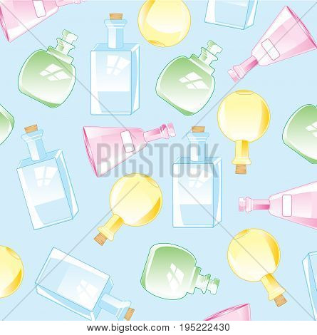 Colorful background from glass bottles of the varied form