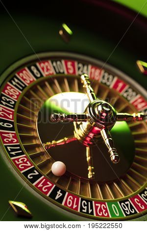 Casino theme. Gambling game. Closeup of the roulette wheel.