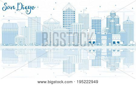 Outline San Diego Skyline with Blue Buildings and Reflections. Business Travel and Tourism Concept with Modern Architecture. Image for Presentation Banner Placard and Web Site.
