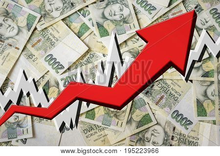 Growing Arrow With Czech Crowns Money Background
