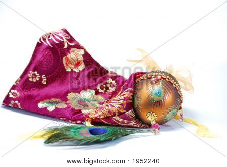 Decorated Egg Peacock Feather And Bag