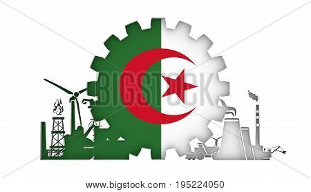 Energy and Power icons set with flag of the Algeria. Sustainable energy generation and heavy industry. 3D rendering.
