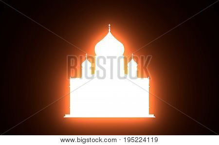 Cathedral of Christ the Savior in Moscow. Simple silhouette. 3D rendering. Neon bulb illumination
