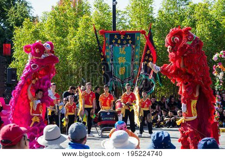 Bendigo, Australia - April 15, 2017: Traditional Chinese performers at the Bendigo Easter Festival. Chinese culture came to Bendigo during the 1800s goldrush.